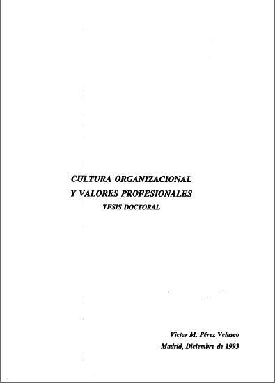 Cultura Organizacional y Valores Profesionales